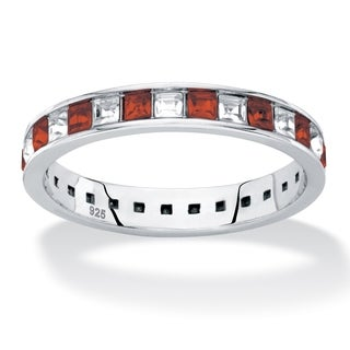Sterling Silver Birthstones and White CZ Eternity Band
