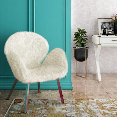 CosmoLiving by Cosmopolitan Estelle Accent Chair with Faux Fur and Chrome Legs