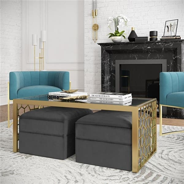 Cosmoliving By Cosmopolitan Juliette Coffee Table And Two Ottomans Set Overstock 26057522