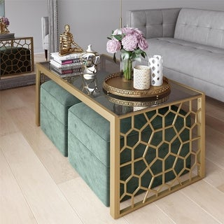 CosmoLiving by Cosmopolitan Juliette Coffee Table and Two Ottomans Set