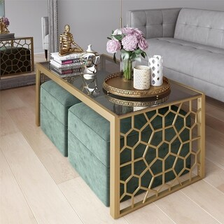 CosmoLiving Juliette Coffee Table and Two Ottomans Set