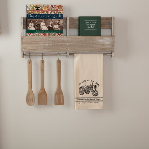 White Farmhouse Tabletop Kitchen VHC Sawyer Mill Tractor Kitchen Towel Fabric Loop Cotton Graphic-Print Stenciled Muslin