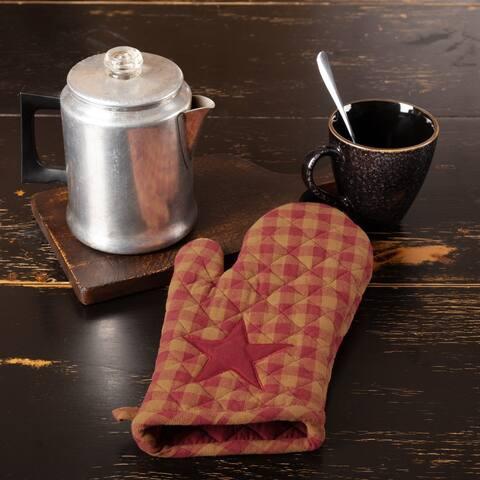 Red Primitive Tabletop Kitchen VHC Burgundy Star Oven Mitt Fabric Loop Cotton Star Appliqued - Oven Mitt