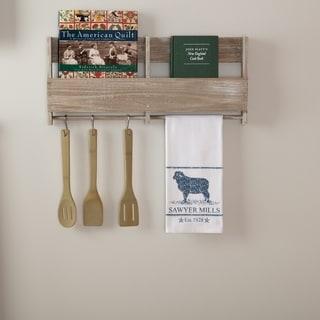 Blue Farmhouse Tabletop Kitchen VHC Sawyer Mill Lamb Kitchen Towel Fabric Loop Cotton Nature Print Stenciled Muslin