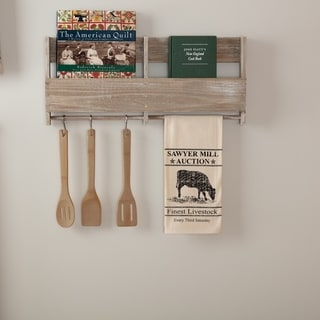 White Farmhouse Tabletop Kitchen VHC Sawyer Mill Cow Kitchen Towel Fabric Loop Cotton Nature Print Stenciled Muslin