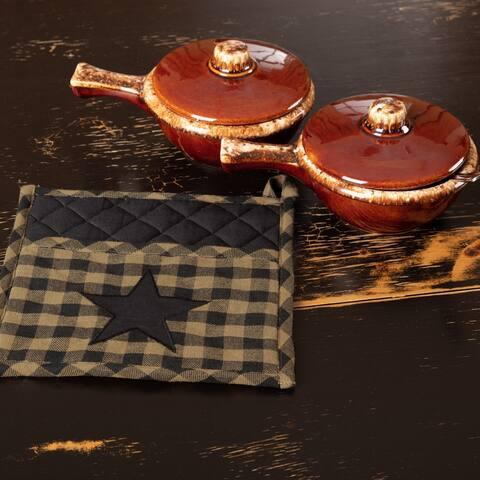 Primitive Tabletop Kitchen VHC Star Pot Holder Fabric Loop Cotton Star Appliqued Pocket