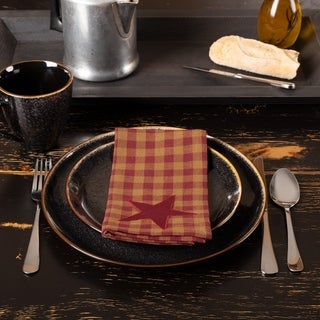Primitive Tabletop Kitchen VHC Star Napkin Set of 6 Cotton Star Appliqued
