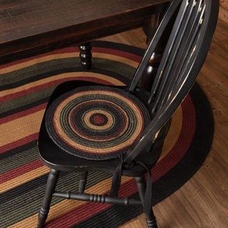 Red Rustic Tabletop Kitchen VHC Wyatt Chair Pad Set of 6 Jute Plaid