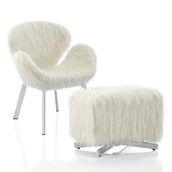 Incredible Shop Cosmoliving Estelle Accent Chair And Ottoman With Faux Alphanode Cool Chair Designs And Ideas Alphanodeonline