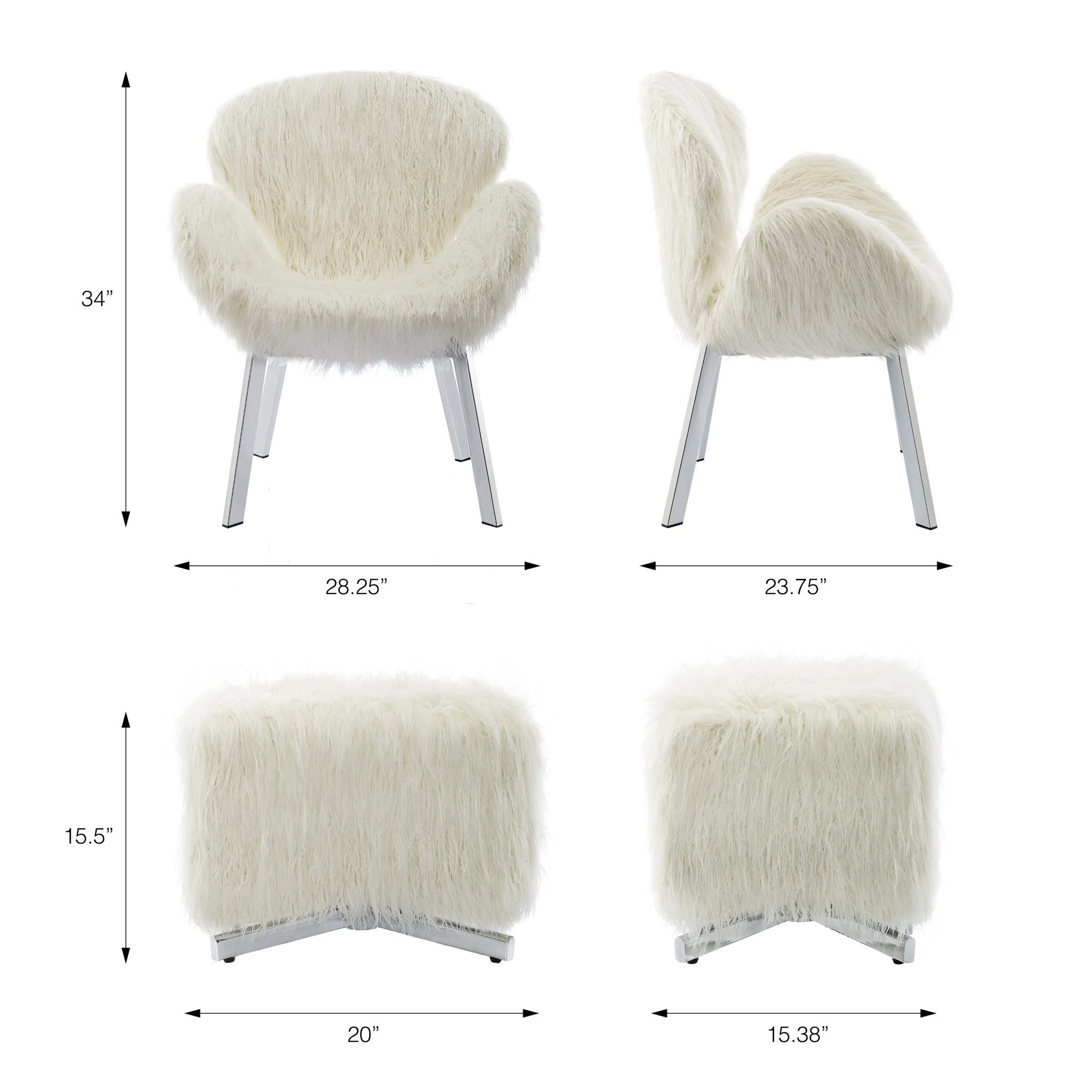 Outstanding Cosmoliving Estelle Accent Chair And Ottoman With Faux Fur And Chrome Legs Alphanode Cool Chair Designs And Ideas Alphanodeonline
