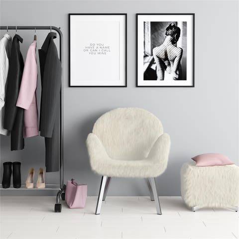 CosmoLiving Estelle Accent Chair and Ottoman with Faux Fur and Chrome Legs