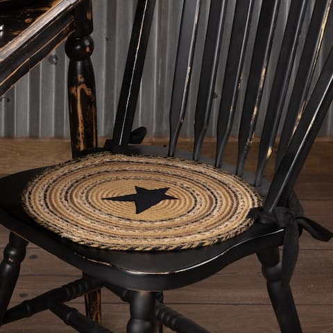 Tan Primitive Tabletop Kitchen VHC Kettle Grove Star Chair Pad Set of 6 Jute Appliqued