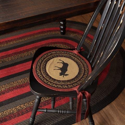 Tan Rustic Tabletop Kitchen VHC Cumberland Moose Chair Pad Set of 6 Jute Nature Print Appliqued