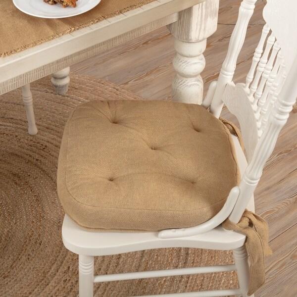 Tan Farmhouse Tabletop Kitchen VHC Burlap Natural Chair Pad Cotton Solid Color Cotton Burlap