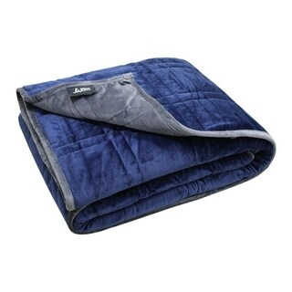 "Ultra Plush P&R Weighted Blanket 15lb - Minky Warm Luxury - (60""x80"", 15 lb) Blue/Gray (For 140 lb Individual)"