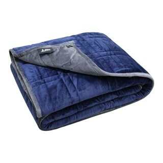 "Ultra Plush P&R Weighted Blanket 10lb - Minky Warm Luxury - (48""x60"", 10 lb) Blue/Gray (For 80 lb Individual)"