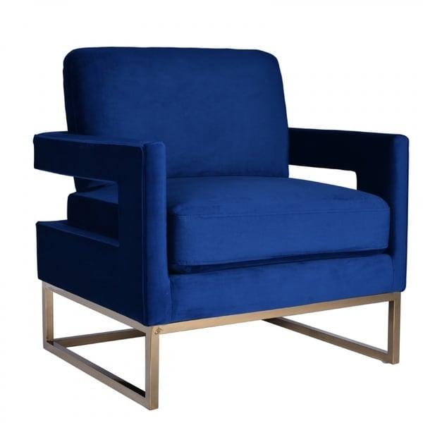Shop Modrest Edna Modern Blue Velvet Gold Accent Chair On Sale