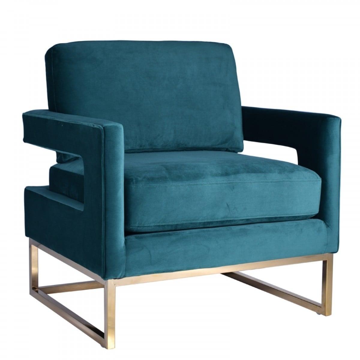 Modrest Edna Modern Teal Velvet Gold Accent Chair Overstock 26058072