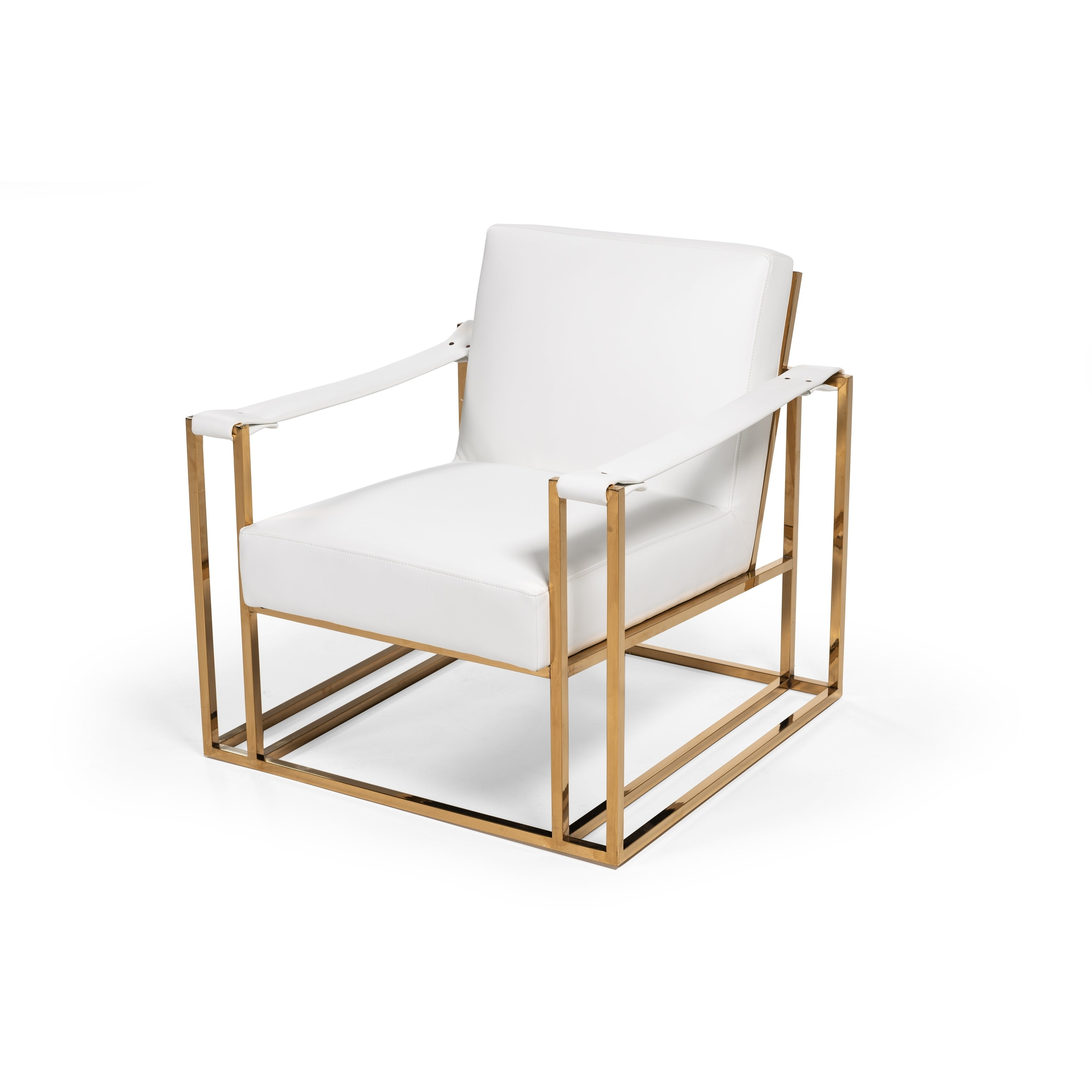 Picture of: Modrest Larson Modern White Leatherette Gold Accent Chair Overstock 26058079