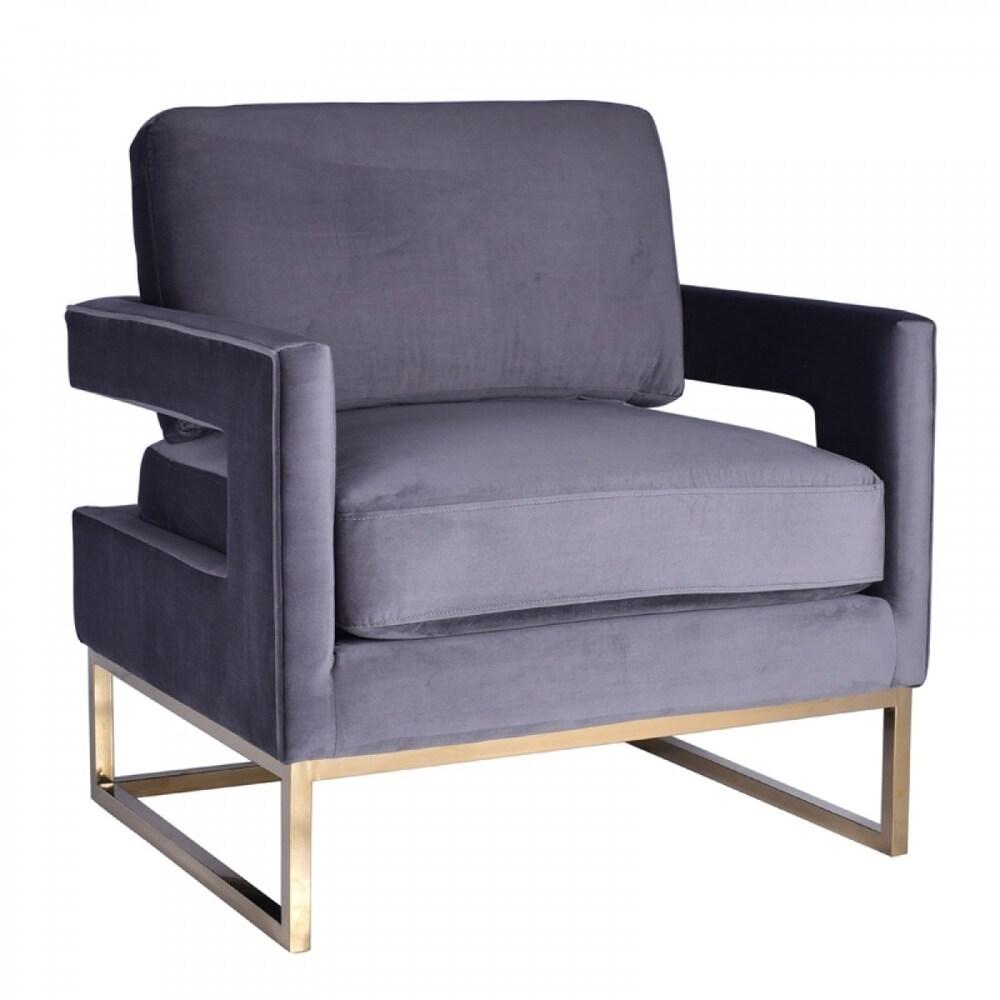 Overstockmodrest Edna Modern Grey Velvet Gold Accent Chair Grey Dailymail