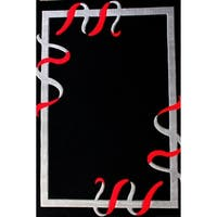 "Abstract Black Contemporary 5x8 Rug - 5'4"" x 7'5"""