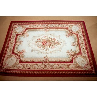 "Handknotted Wool Aubusson Rug - 7'3"" x 10'"