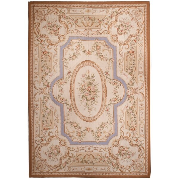 "Handknotted Wool Aubusson Rug - 9'9"" x 14'"