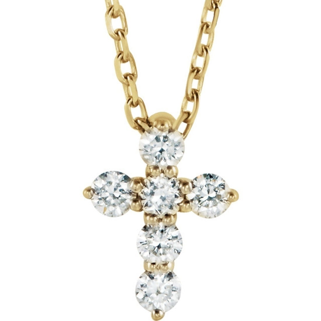 Diamond Cross Ring 14K White Gold Genuine White Diamond Sideways Cross .25ct
