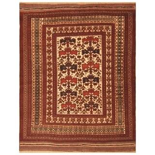 Handmade One-of-a-Kind Soumak Wool Kilim (Afghanistan) - 6'8 x 10'