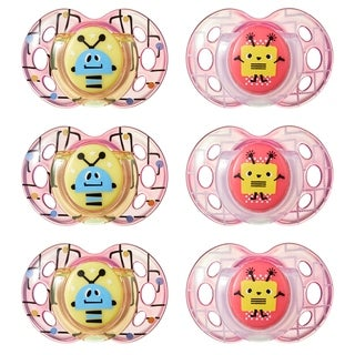 Tommee Tippee Fun Style Pacifier - 6-18 Months - 6 Pack - Red/Yellow - Robots/Square