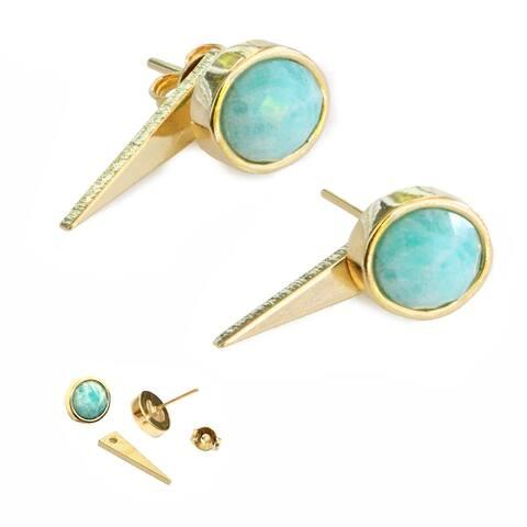 Sonia Hou Fire 3-Way Convertible 24K Gold Blue Amazonite Gemstone Ear Jacket Earrings