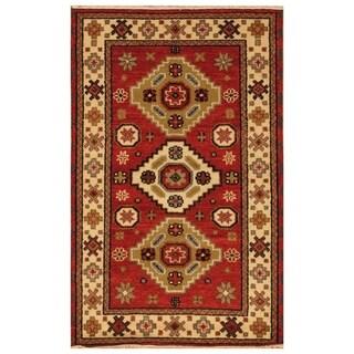 Handmade Kazak Wool Rug (India) - 3'1 x 5'