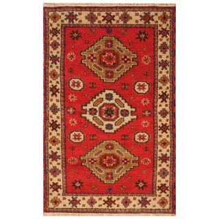 Handmade Kazak Wool Rug (India) - 3'2 x 5'