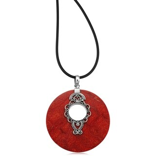 Handmade Sterling Silver Red Coral Round Pendant Necklace (Indonesia)