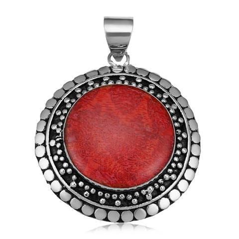 Handmade Red Coral Silver Plated Round Pendant (Indonesia)