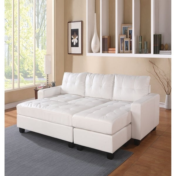 Reversible Sectional Sofa White Bonded Leather Match Sofas: Shop Daugai Reversible Sectional Sofa Upholstered In