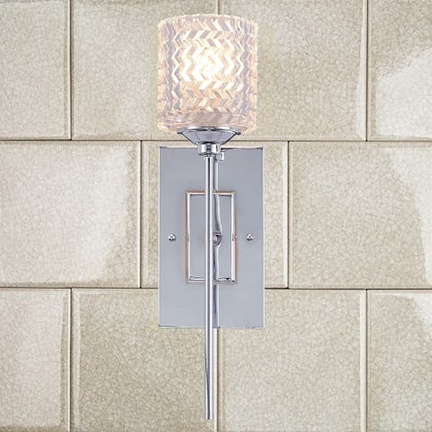 Porch & Den Savoy Chrome Finish/ Crystal 1-light Wall Sconce - 17.26x4.72x5.9
