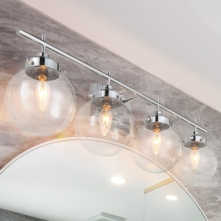 Link to Porch & Den Schaaf Chrome/ Glass Globe Shade 4-light Bath Light Similar Items in Sconces
