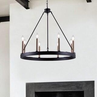 Vanity Art 8 Lights Wagon Wheel Chandelier Lighting Farmhouse Candle Light Fixtures Brass Ceiling Mount for Living Room