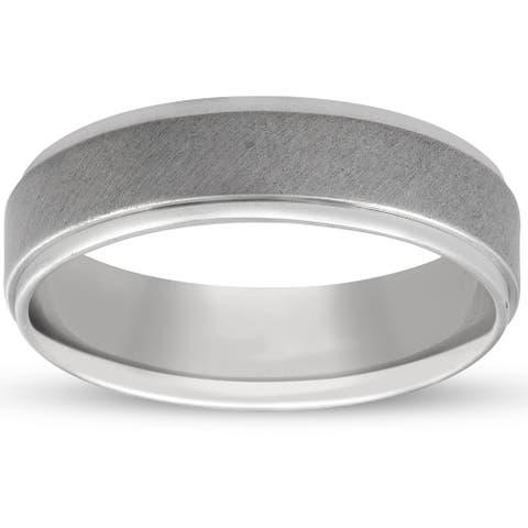 Pompeii3 Platinum 6MM Brushed Comfort Fit Ring Mens Wedding Band