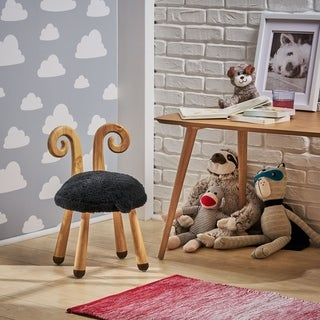 Link to Rose Red's Stoolimals Collection Faux Sheep Stool by Christopher Knight Home Similar Items in Kids' Ottomans & Gliders