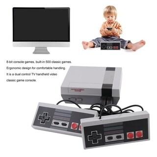 Mini Dual Control TV Handheld Video Game Console Built-In 500 Classic Games - black&grey
