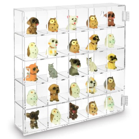 Ikee Design Mountable 25 Compartments Display Case w/ Mirrored Back