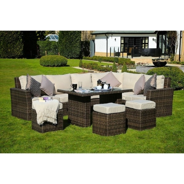 8 Piece Wicker Sofa Patio Dining Set Outdoor Sectional Furniture By Moda Furnishings