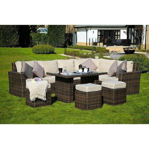 8-Piece Wicker Sofa Patio Dining Set Outdoor Sectional Furniture By Moda Furnishings