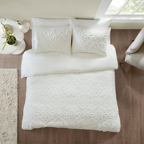 Copper Grove Villach White Tufted Cotton Chenille Duvet Cover Set