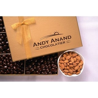 Andy Anand Chocolates with Plush Teddy Bear and Almonds Covered Chocolate in Gift Basket 1 lbs, For Birthday, Anniversary