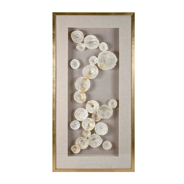 Wood and Glass Framed Wall D�cor with linen Background, Beige and Gold