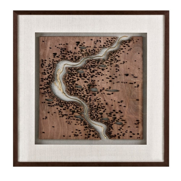 Luxurious Square haped Wooden Framed Dimensional Wall Art, Black and Brown