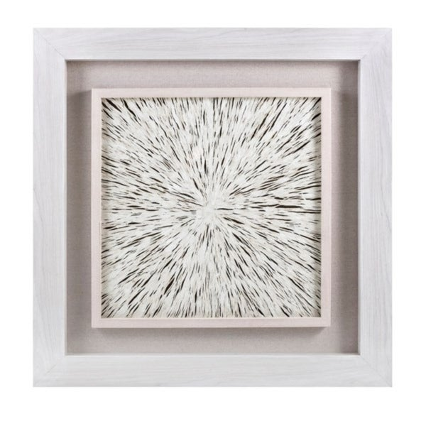 Square Shaped Fiber Framed Dimensional Wall Art on Fabric , White